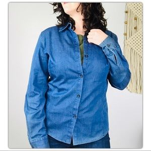 Lafayette 148 Stretch Denim Button Down Shirt A1